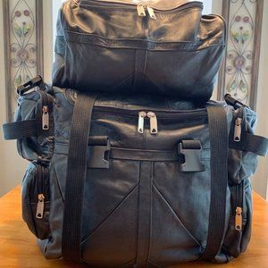 Expandable Leather Sissy Bar Bags with Rain Cover